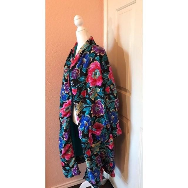 Adonna Floral Turquoise Medium Robe
