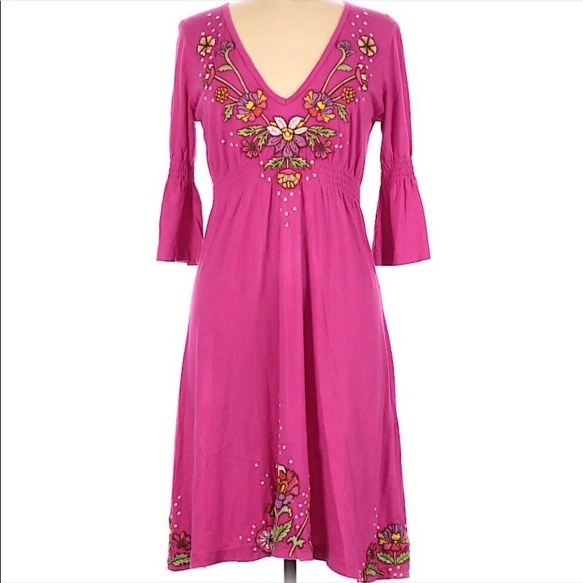 Johnny Was Embroidered Smocked Dress M