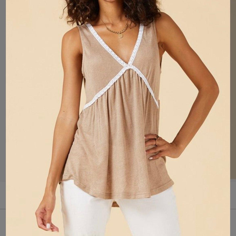 Plus size beige sleeveless top 4X