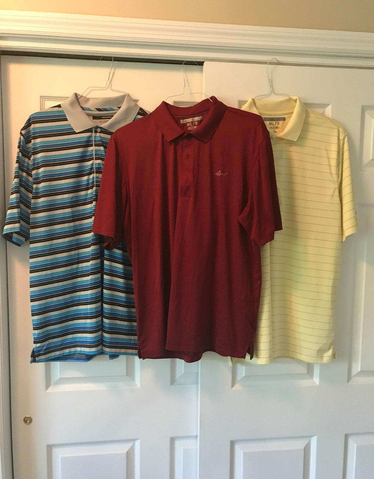 3 Greg Norman Golf shirts M Lg