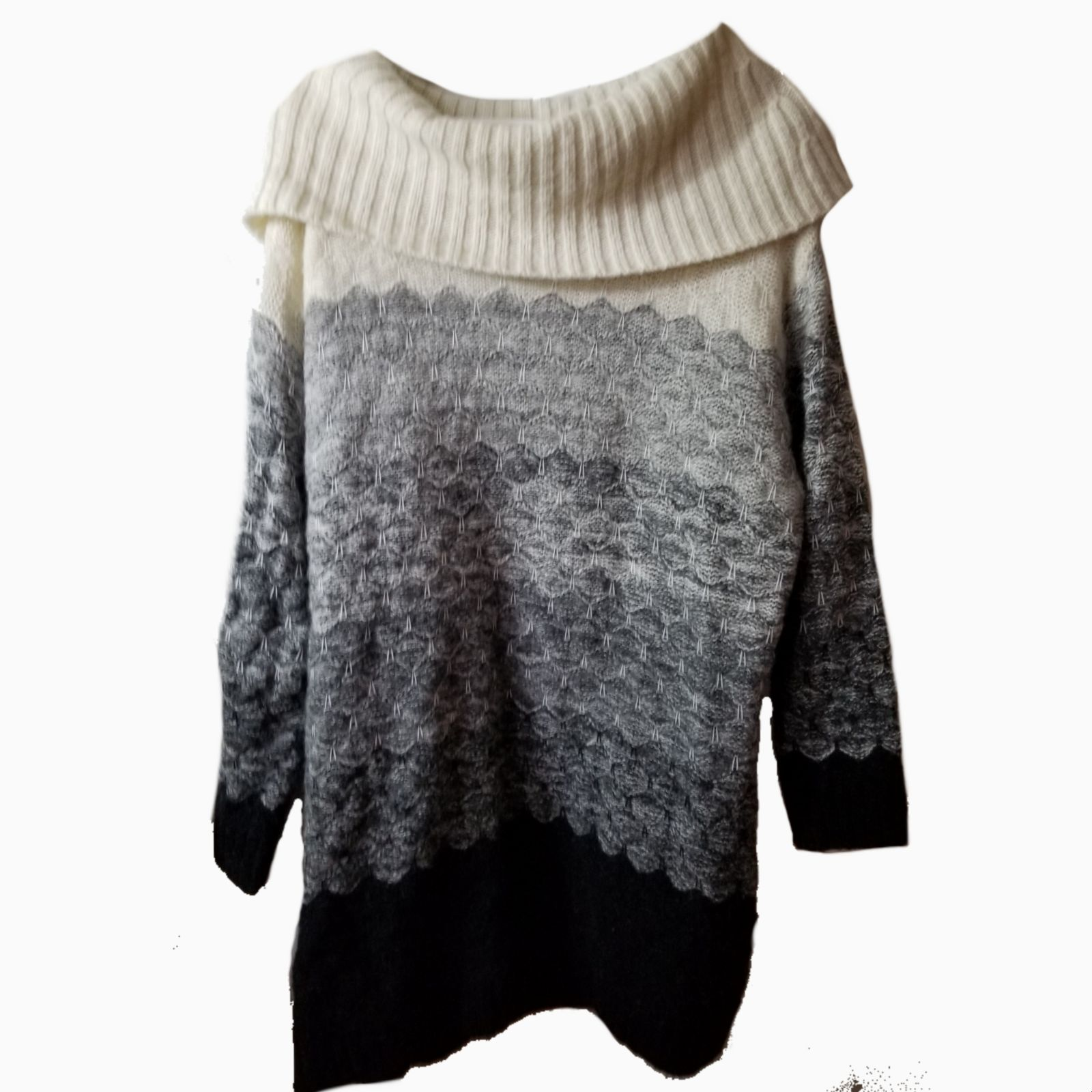 Ruff Hewn l cowl neck LS sweater dress 2