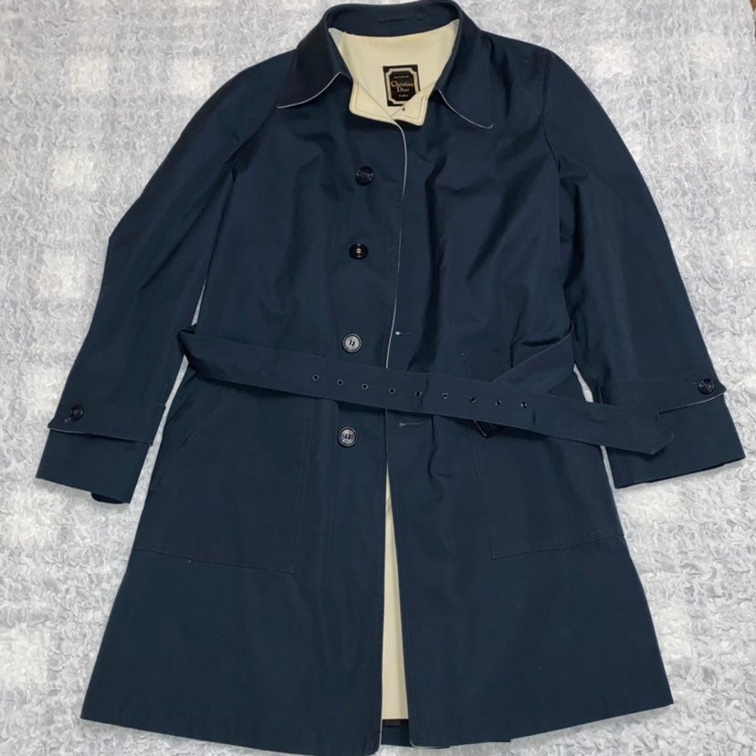 Vintage Navy Christian Dior Trench Coat