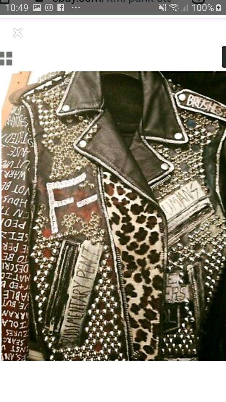 Custom made studded punk leather jacket