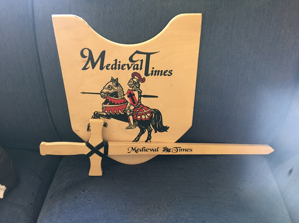 Medieval times wooden sword and shield