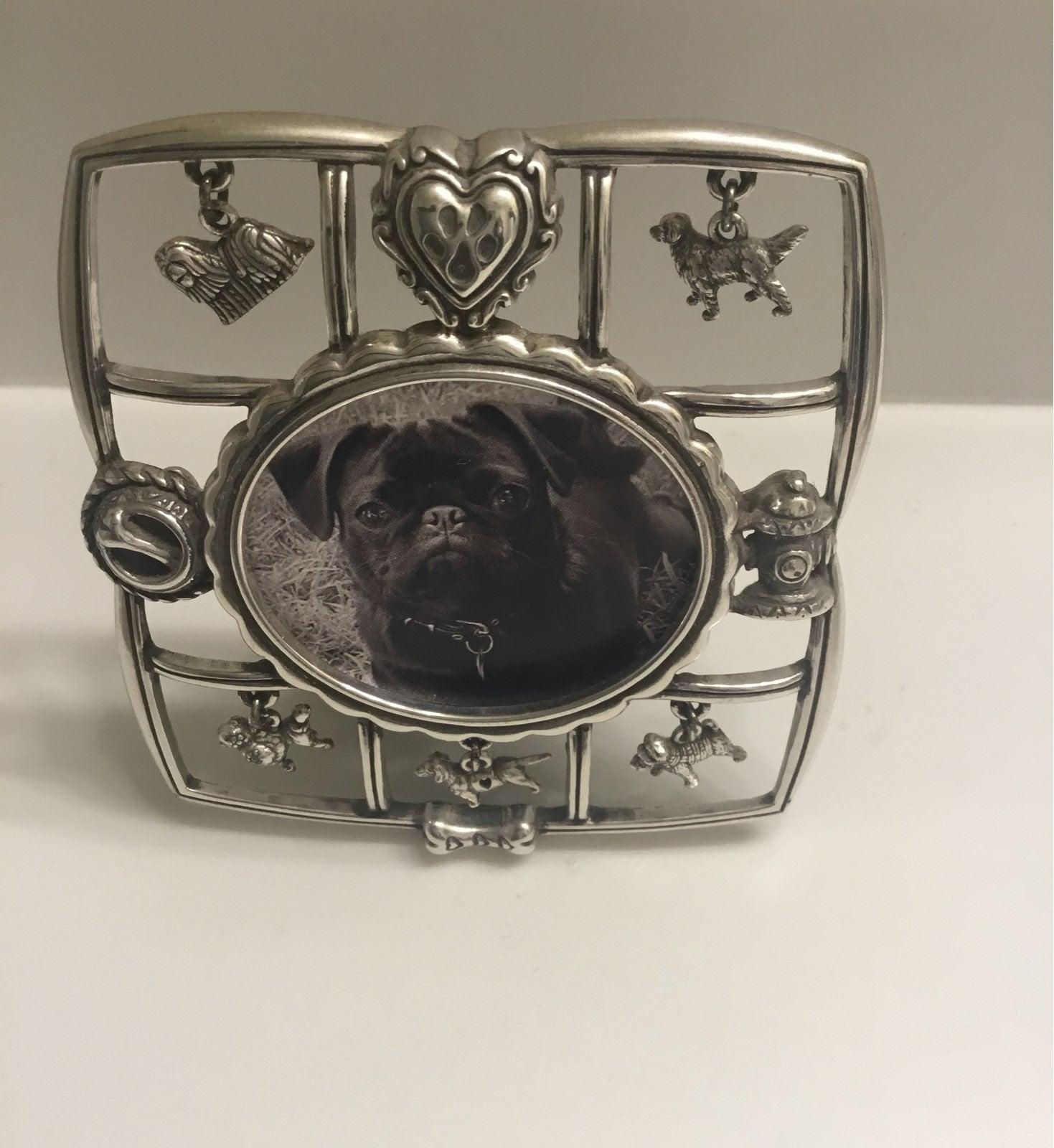 Brighton silver-tone dog charm frame