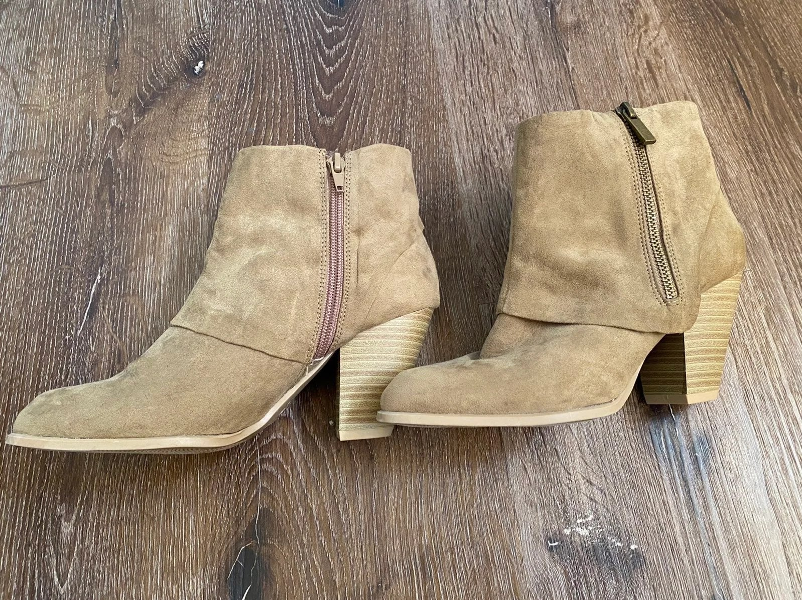 Qupid Suede Ankle Booties - Taupe