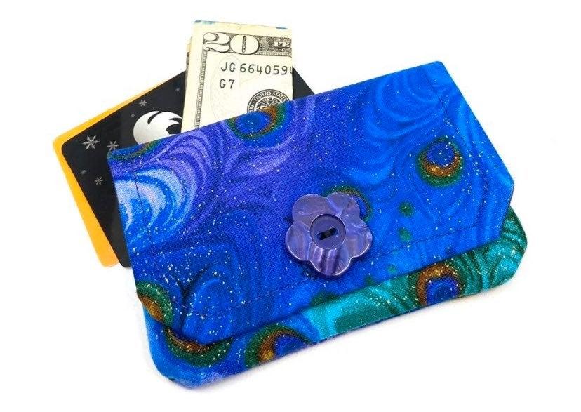 Peacock Fabric Card Wallet- Handmade