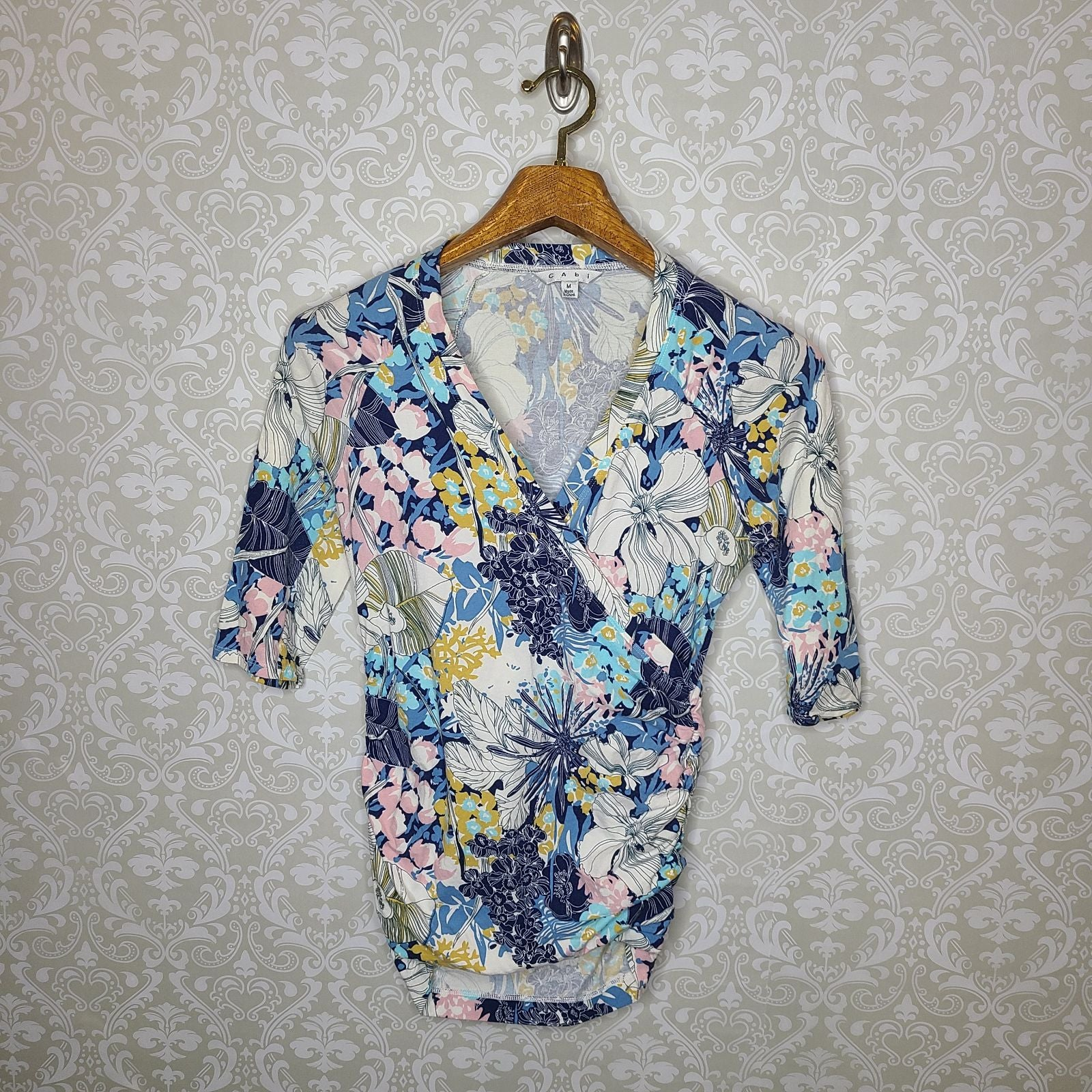 CAbi Floral Wrap Front Top Style 401