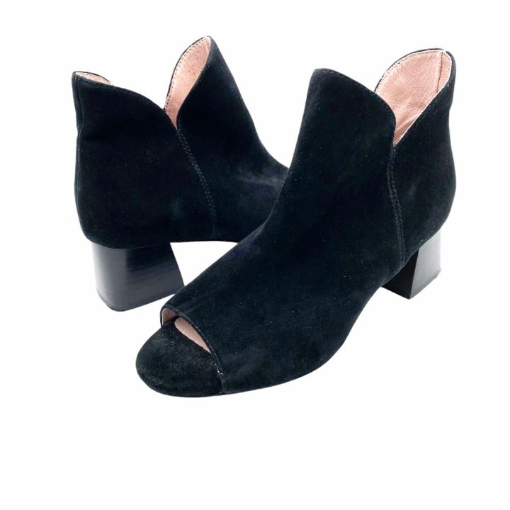 Taryn Rose Black Suede Fleet Booties 5.5