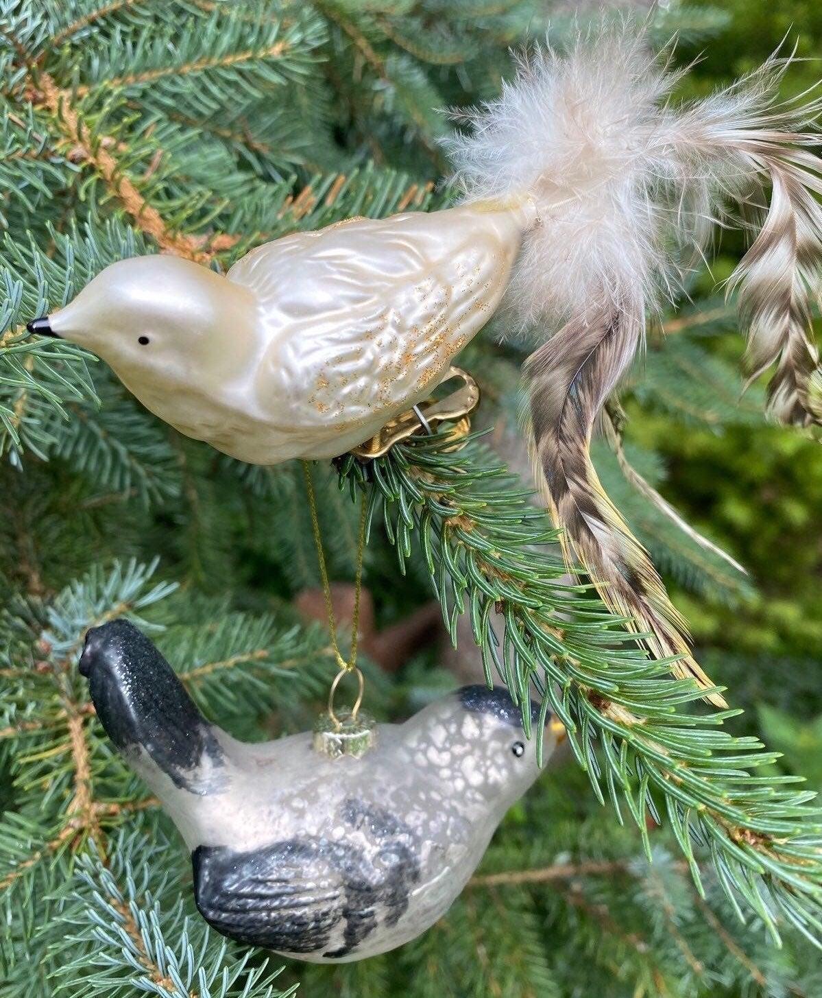 Vintage Glass Birds Christmas Ornaments