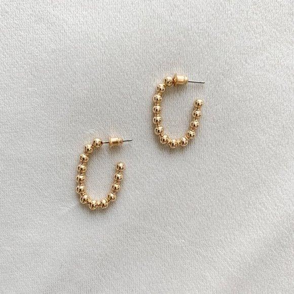 Golden Bubble Huggie Earrings