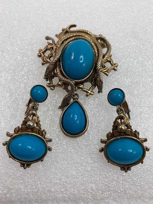 Vintage Gold-Tone Snake Brooch & Earring