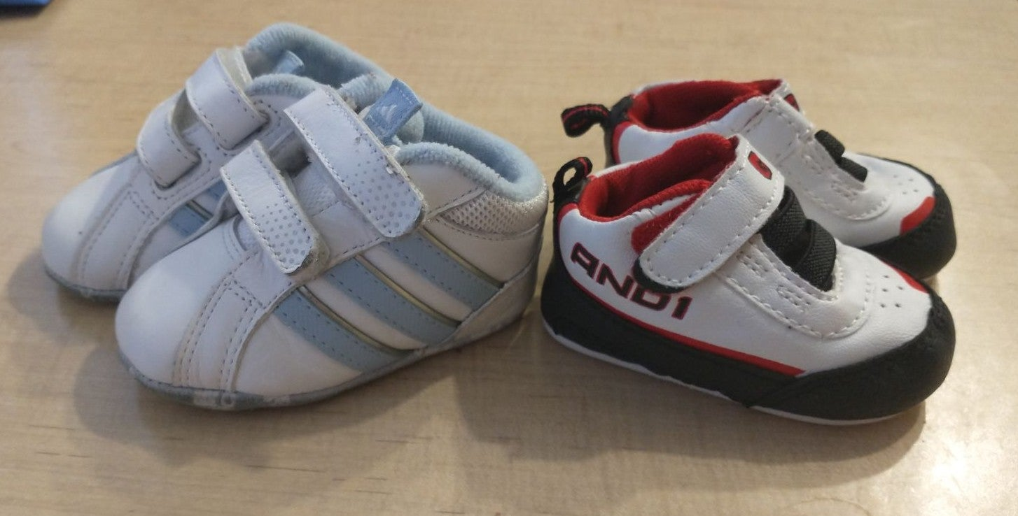 Baby boy Adidas & AND 1 shoes - size 1