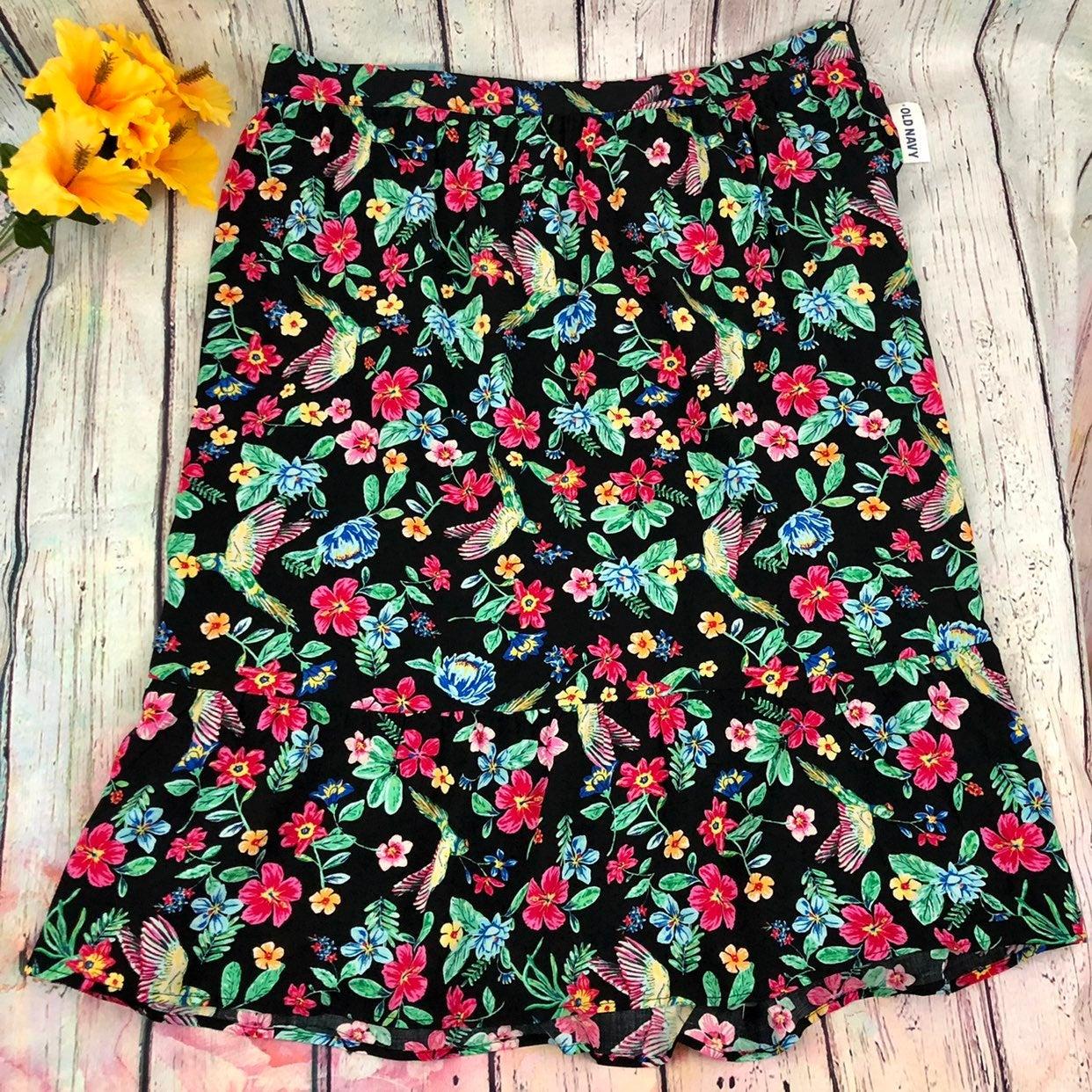 Old Navy Floral Midi Skirt
