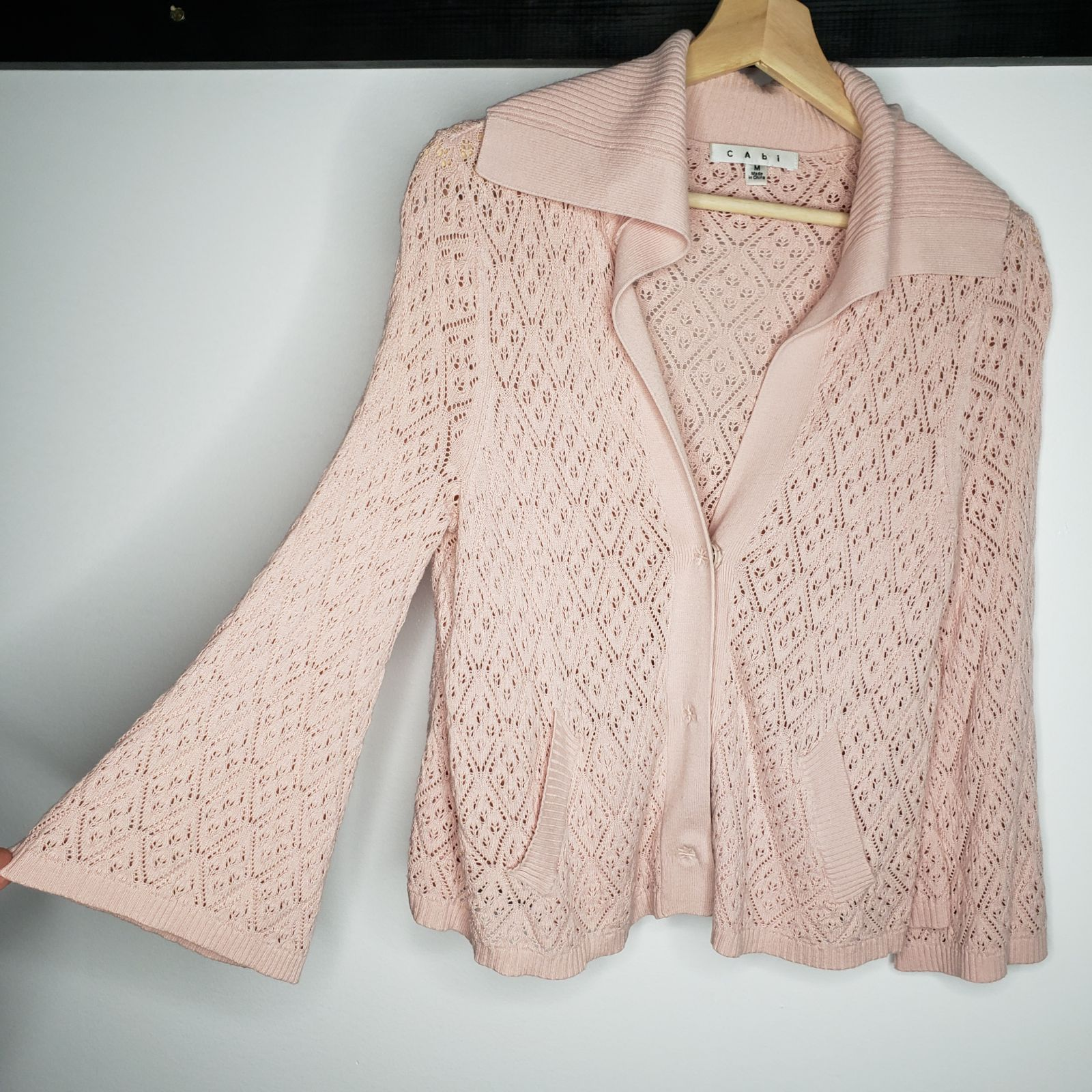 Cabi Open Knit Cardigan Size M Pink