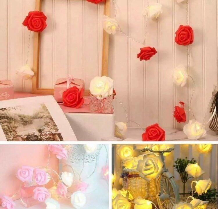 New red 20 LED Rose Flower Lights String