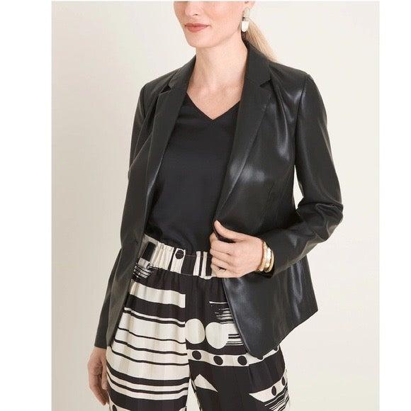 NEW Chico's faux leather blazer black L