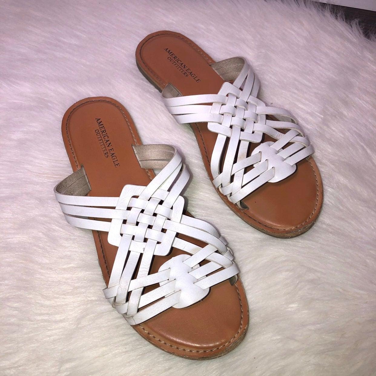 American Eagle leather slip on sandals