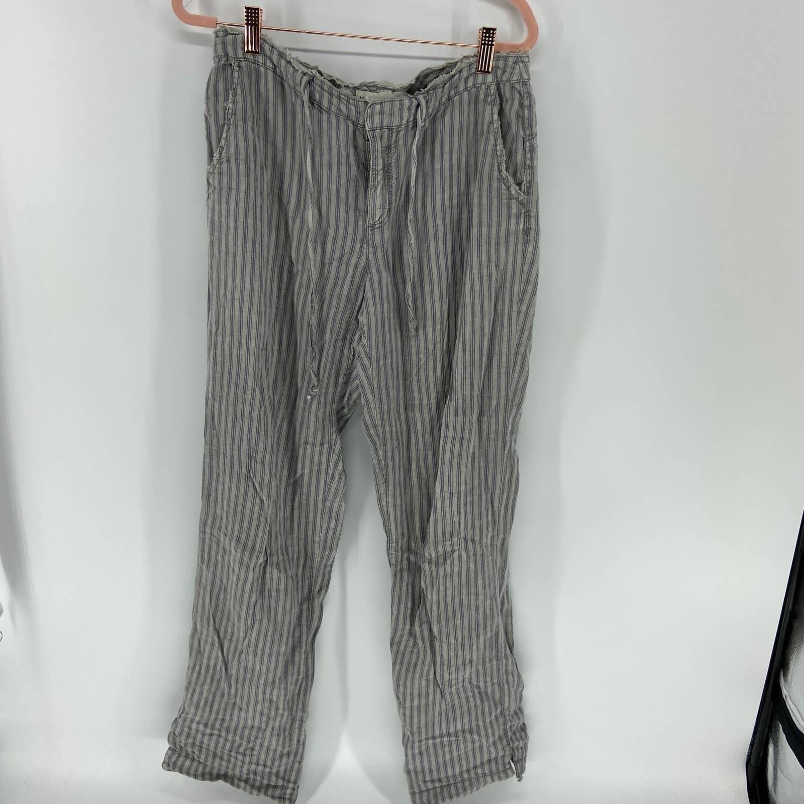 Marrakech Gray Striped Linen Pants