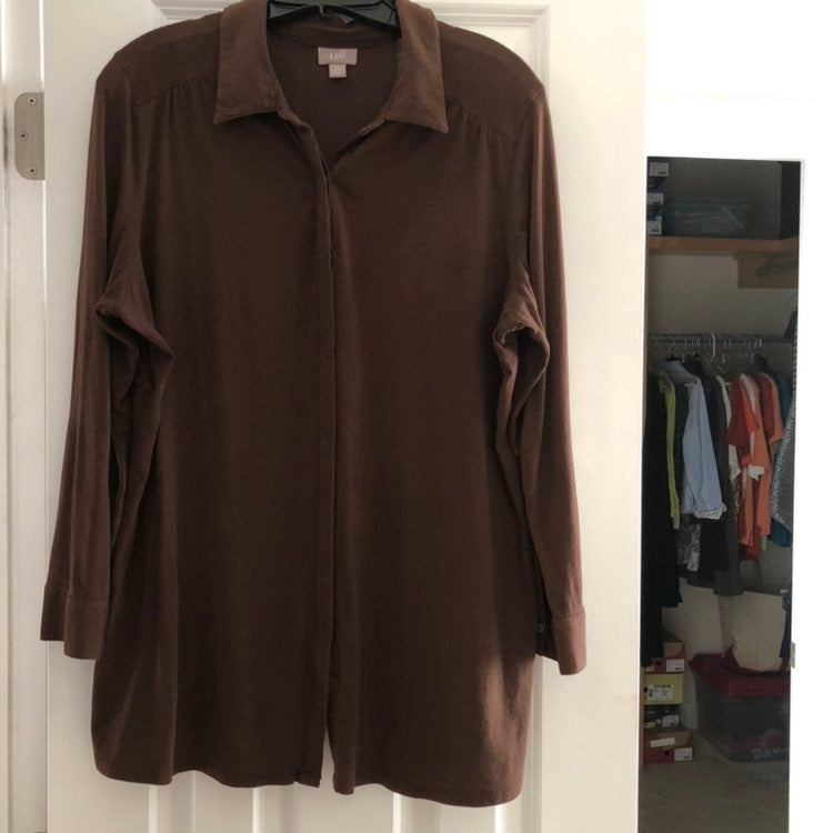 J. Jill Size 1X Brown Tunic Top