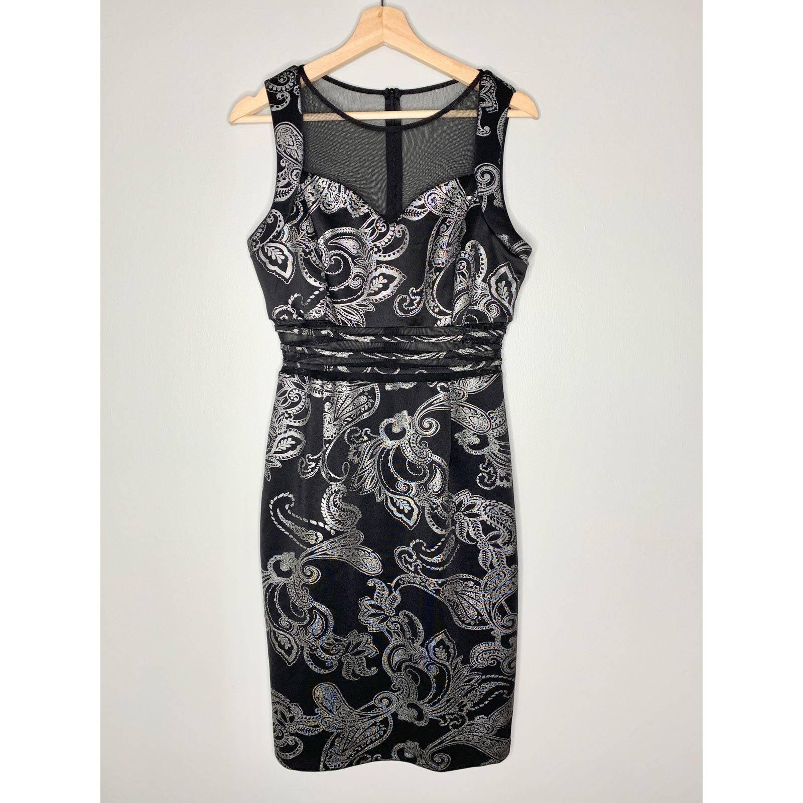 Enfocus Studio Black Silver Midi Dress 6