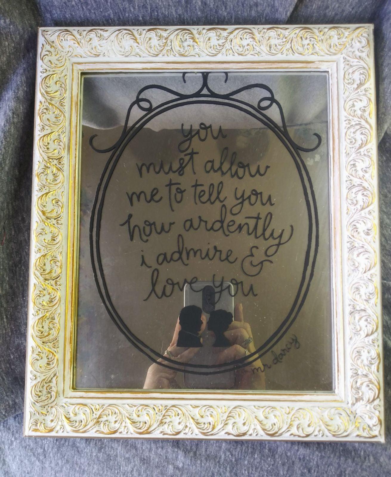 Handmade Jane Austen saying mirror