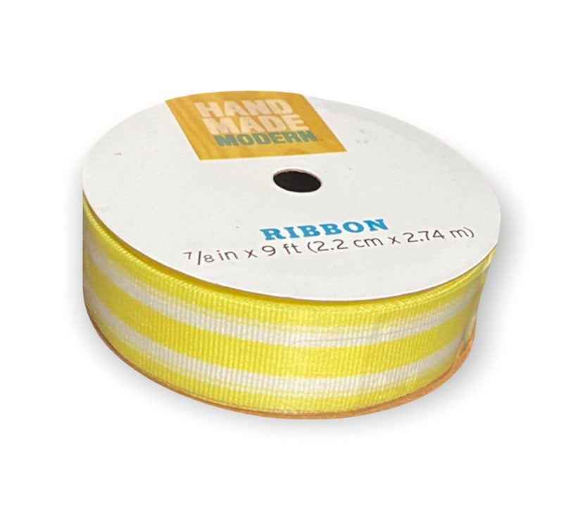 yellow and white striped ribbon unopened