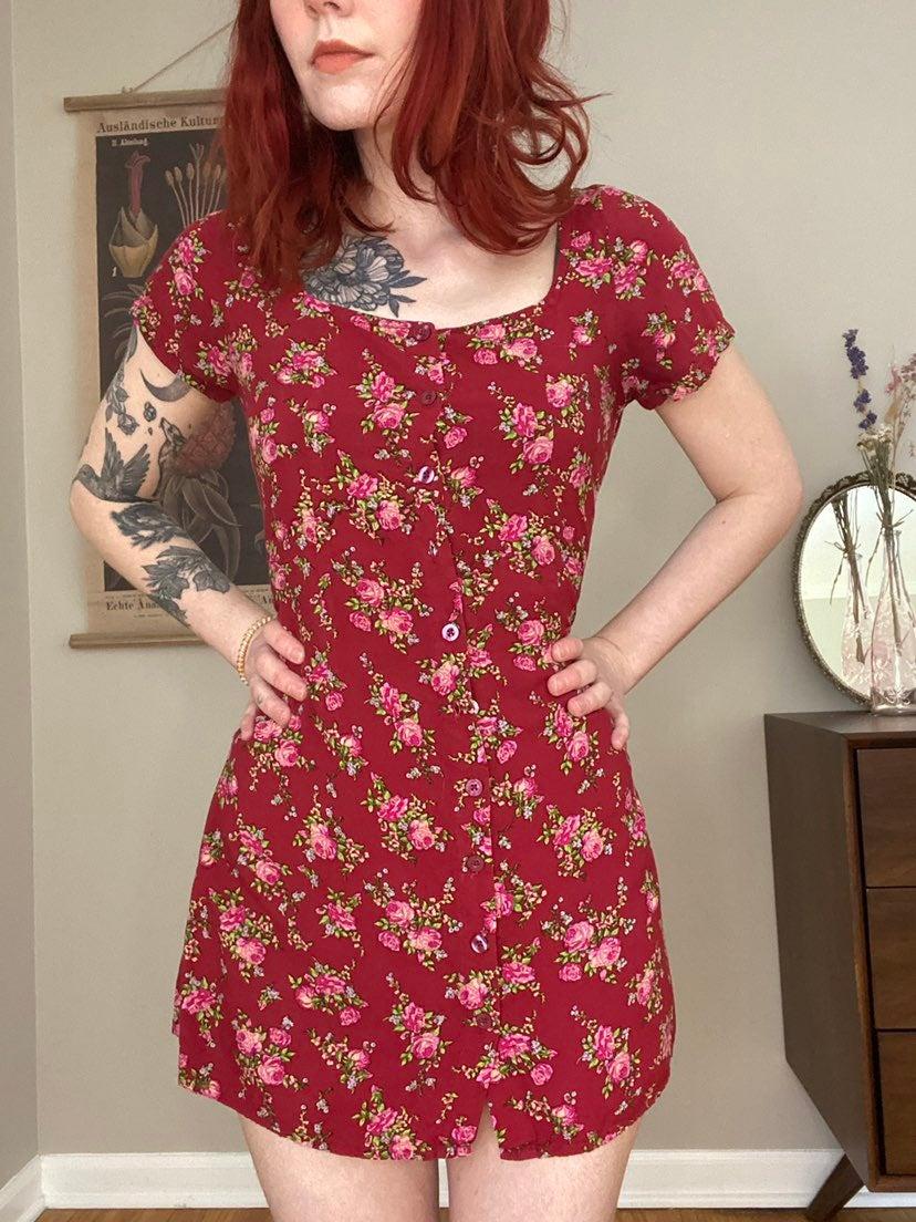 Red Floral Cottagecore Dress