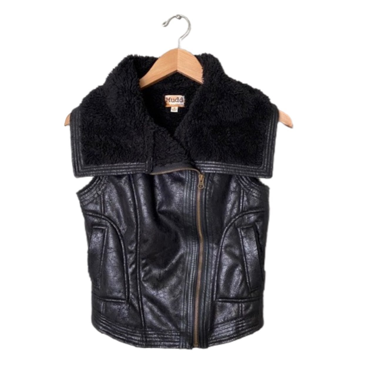 Mudd Black Faux Fur Leather Biker Vest