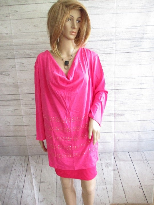 NWT - BAY STUDIO pink knit top - sz 2X