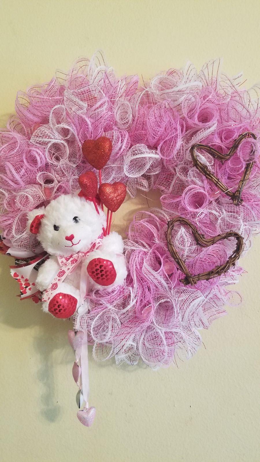 Teddy bear heart wreath