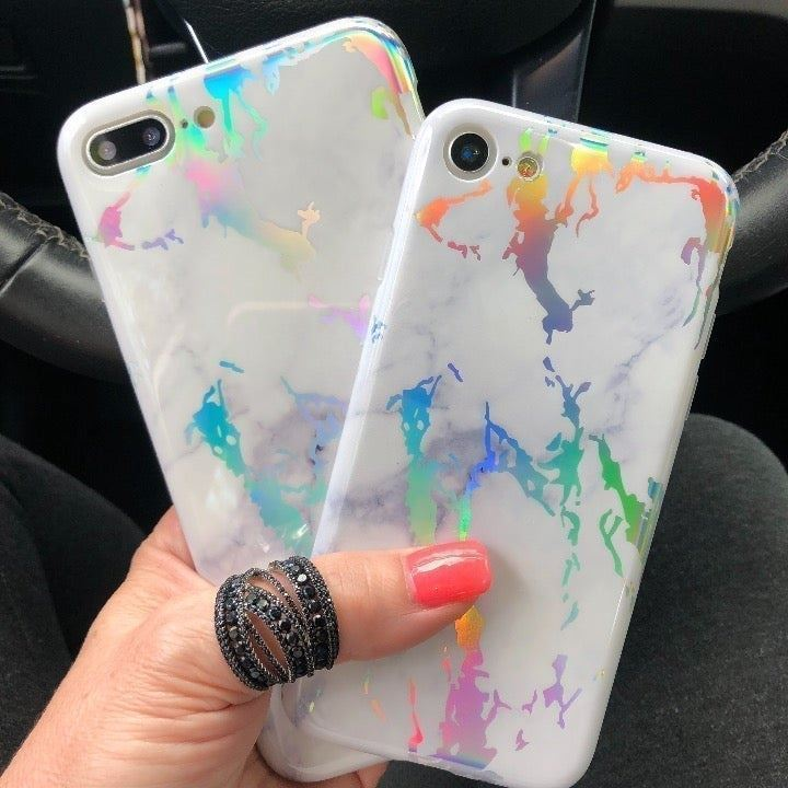 NEW iPhone 7/8 White Holo Marble Case