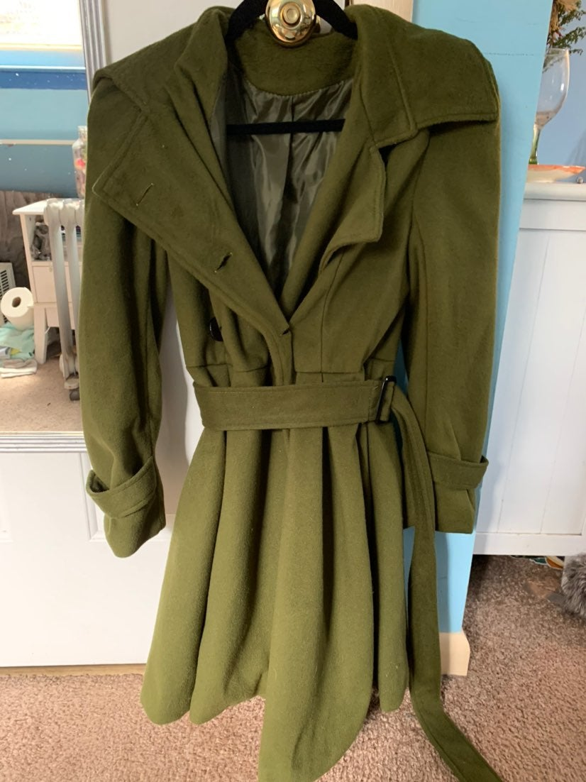 Long green coat womens size small