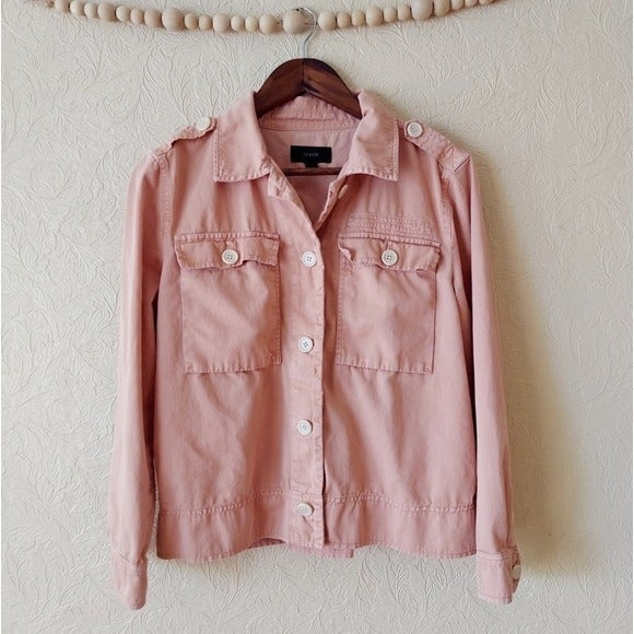 J. Crew garment dyed safari jacket pink