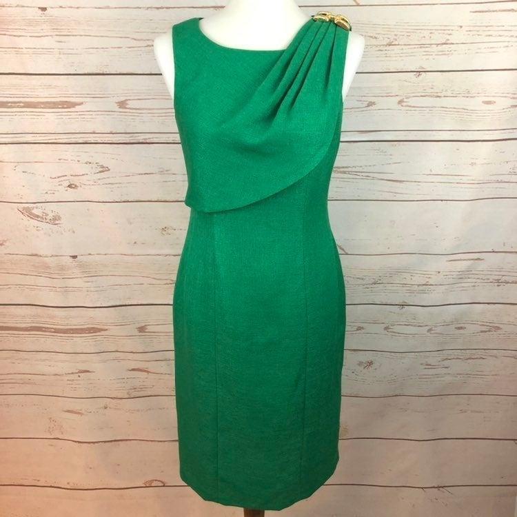 Kay Unger Green Draped Dress