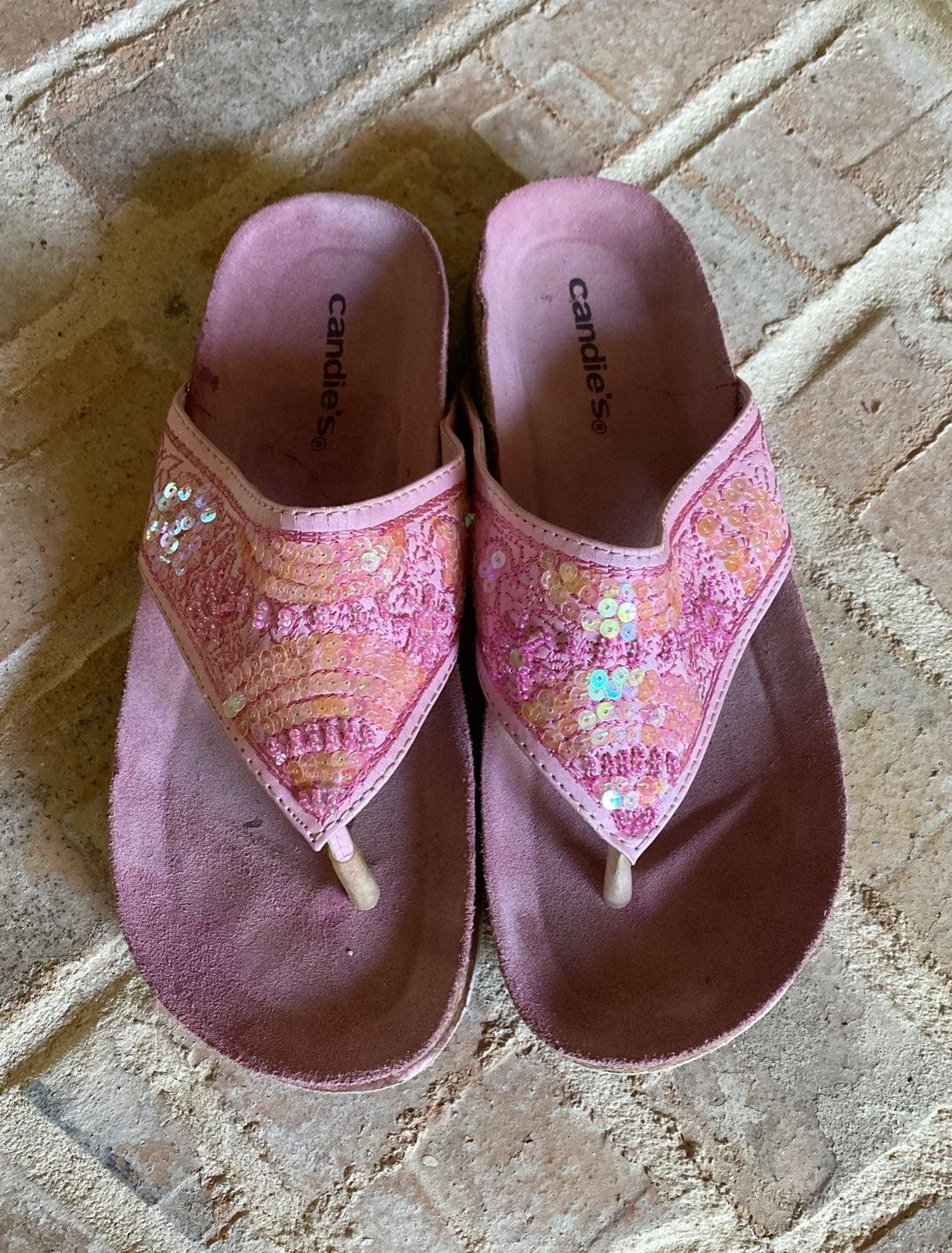 Candies 7 Pink Sequin Bead Sandals