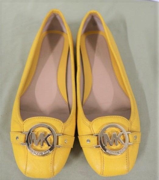 Michael Kors Yellow Leather Fulton Flats
