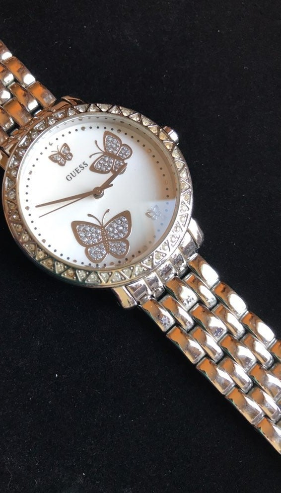 Womens Butterfly Guess Watch, Silvertone