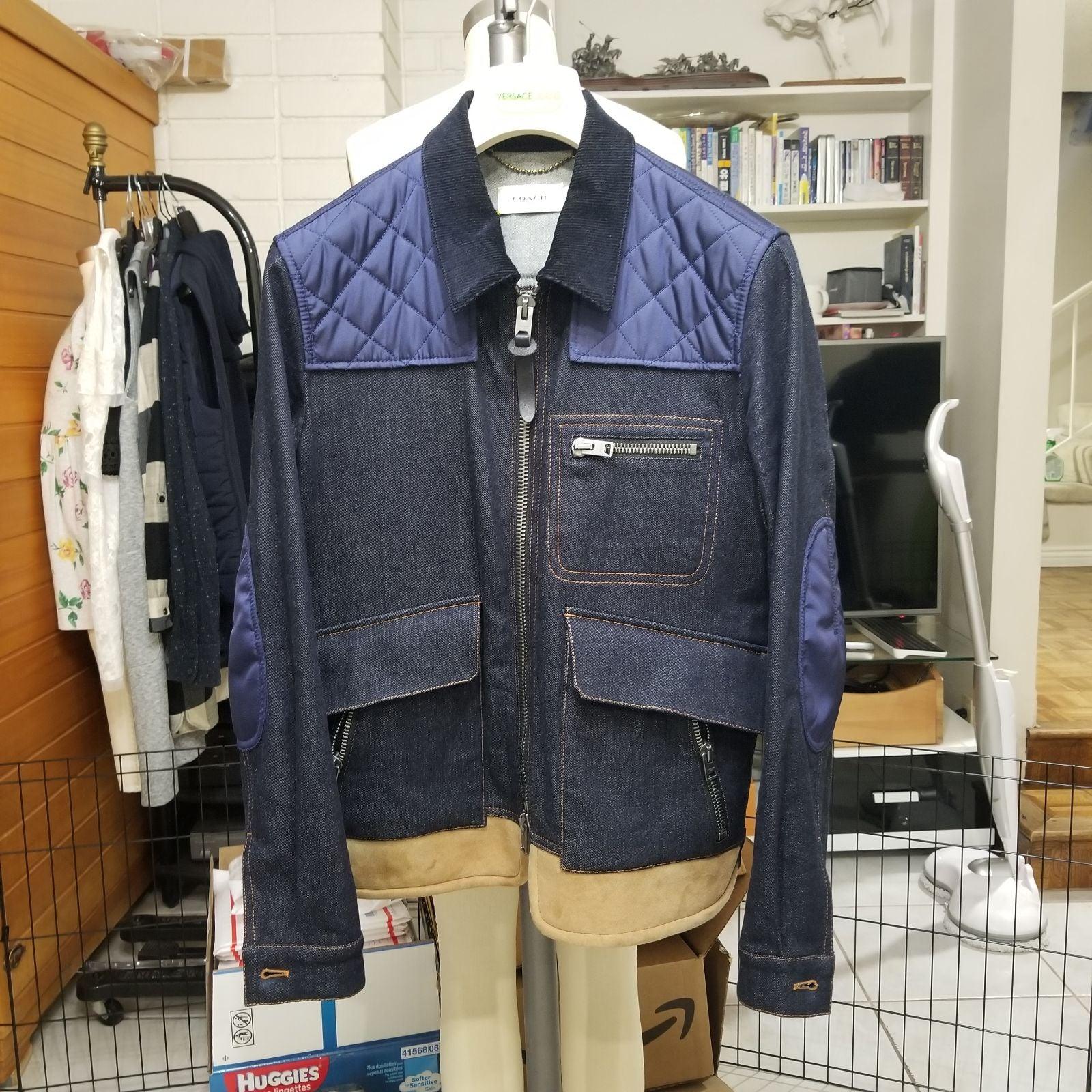 Coach mens denim Jacket with quilt