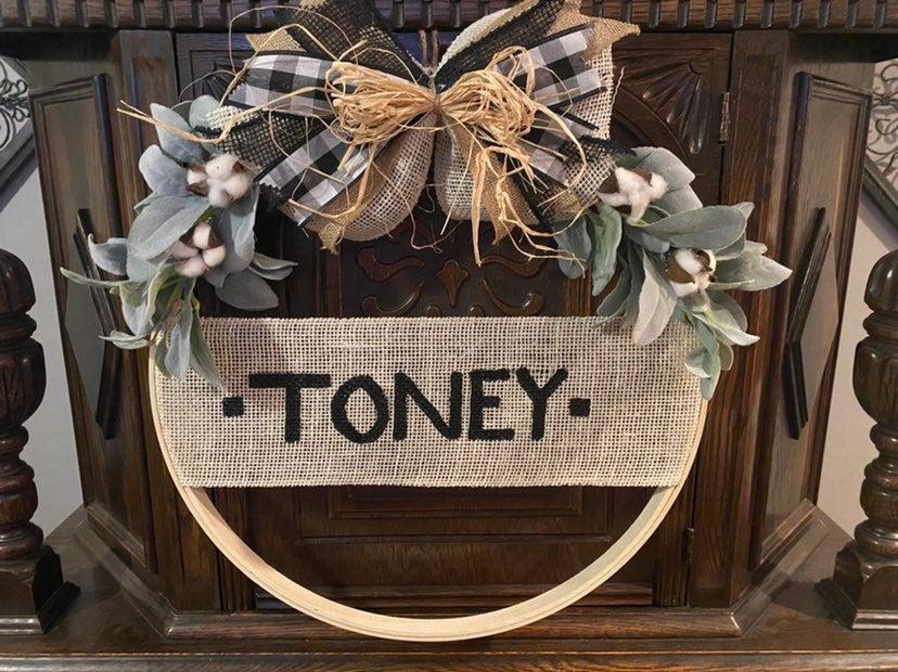 Personalized Emboidary Hoop Wreaths