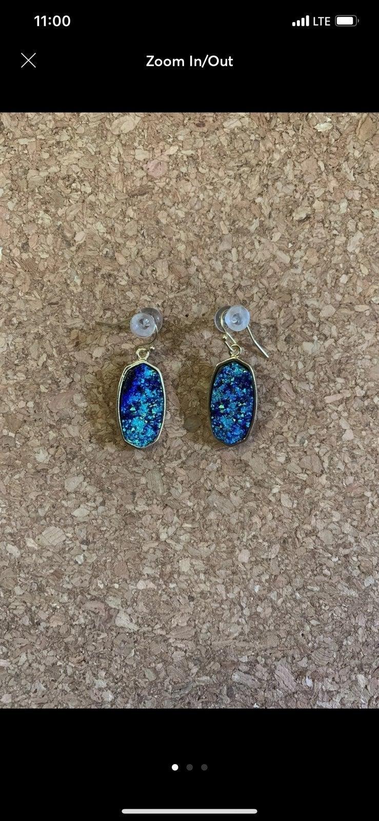 NWOT Blue Druzy stone earrings
