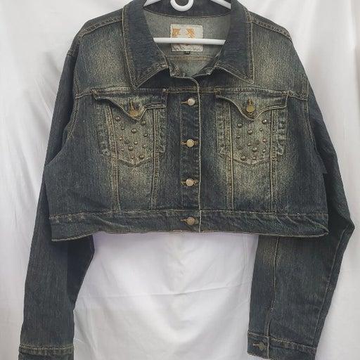 Crest Plus Size Crop Rhinestone Jacket