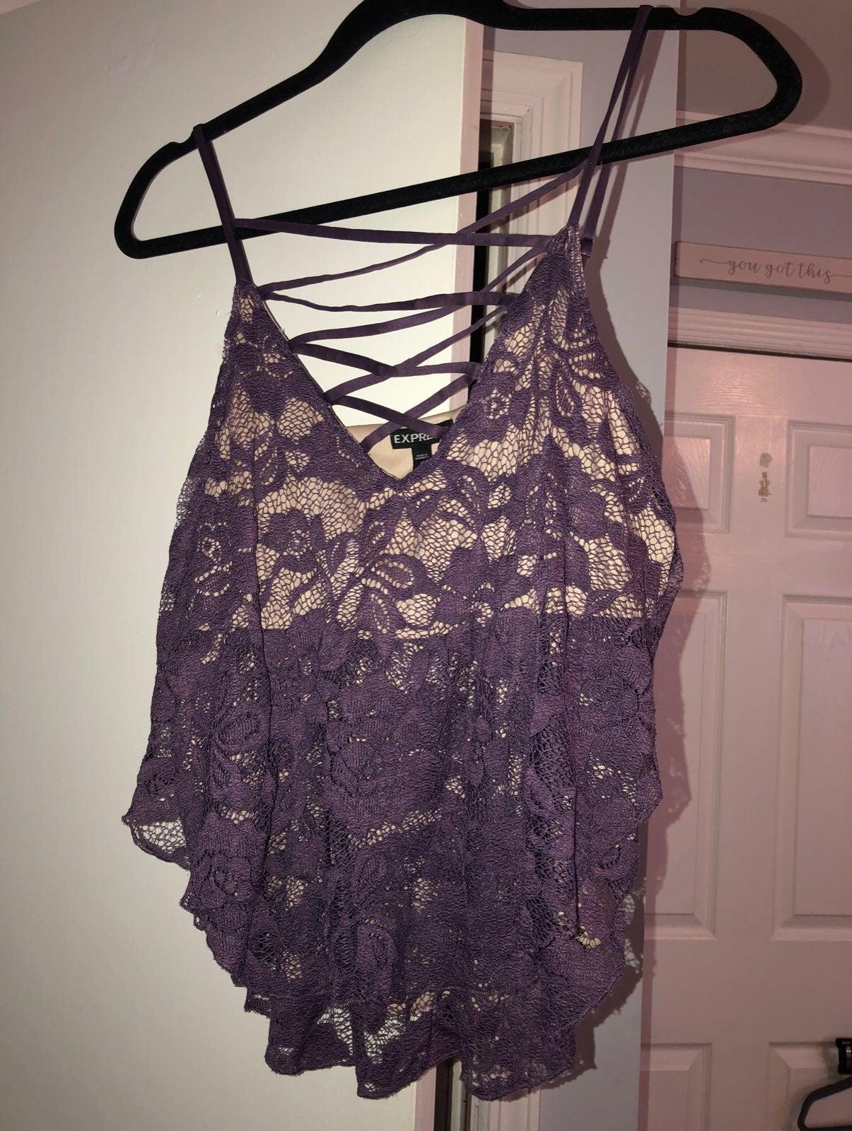 Crisscross lace tanktop blouse
