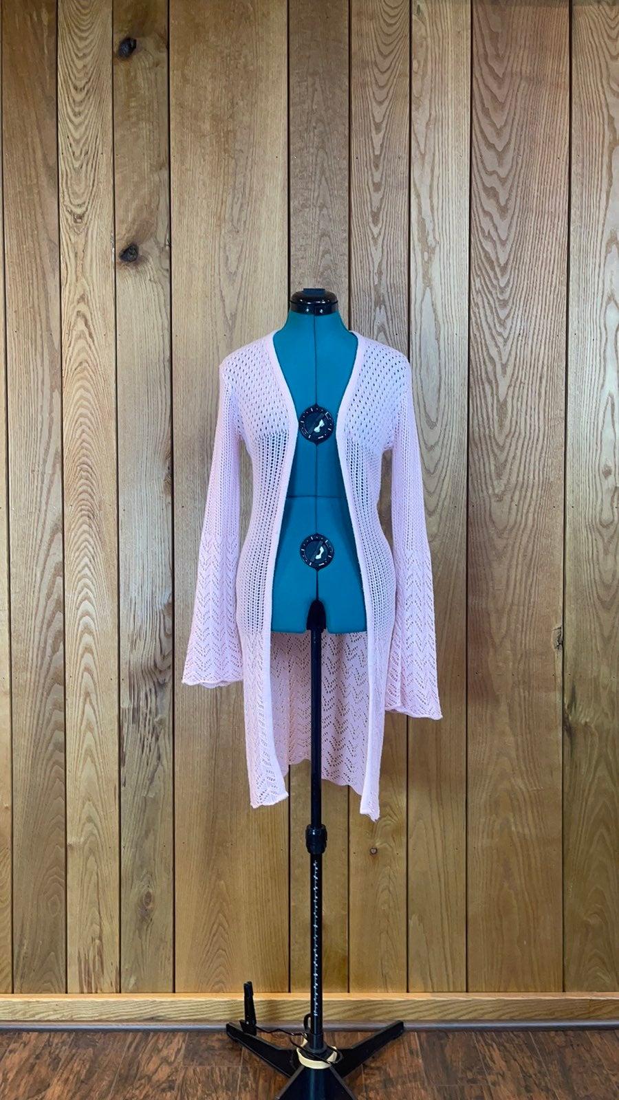 Pink Open Knit Lightweight Long Cardigan