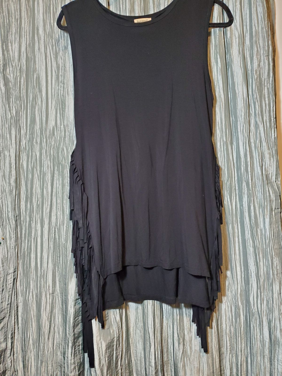 TAKEOUT Black Top With Side Fringes