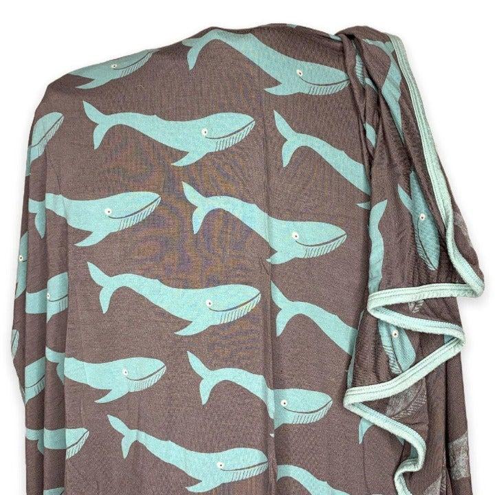 Kickee Pants Rain Whale Swaddle Blanket