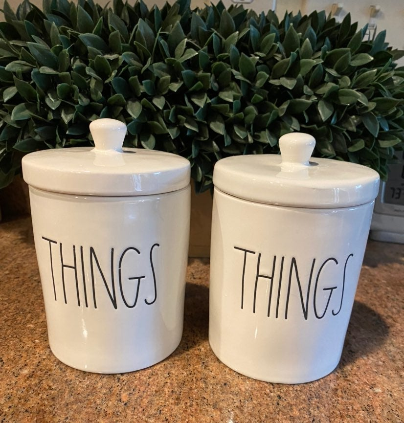 Rae Dunn THINGS Canisters with lids