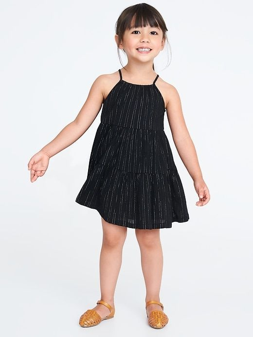 Tiered Metallic-Stripe Swing Sundress 5