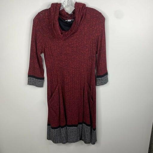 Croft & Barrow Womens Size S Red/Grey/Black Long Sleeve Sweater Dress W/ Pockets