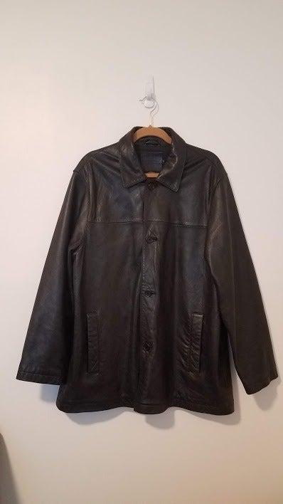 Coach Mens Black Leather 4 Button Coat L